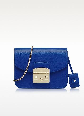 Metropolis Blu Laguna Leather Mini Crossbody Bag - Furla