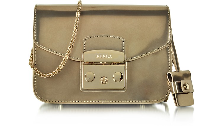 Metropolis Champagne Patent Leather Mini Crossbody Bag - Furla