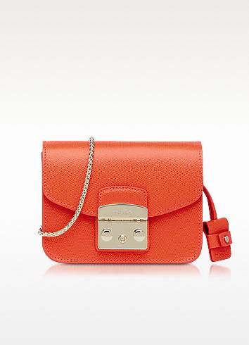 Metropolis Arancio Leather Mini Crossbody Bag - Furla