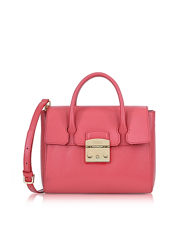 Rose Grained Leather Metropolis Small Satchel Bag