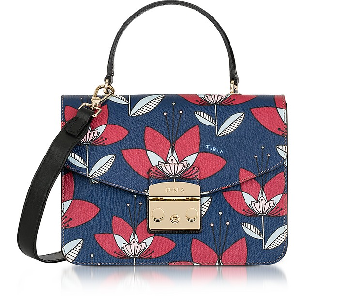Floral Printed Blue Leather Metropolis S Top Handle Bag - Furla