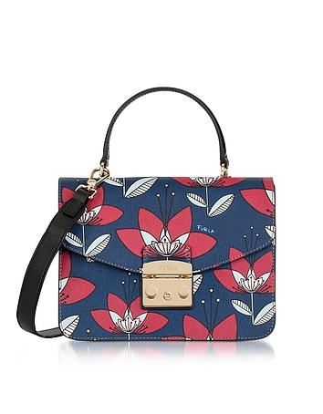 Furla - Floral Printed Blue Leather Metropolis S Top Handle Bag
