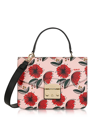 Furla - Floral Printed Moonstone Leather Metropolis S Top Handle Bag
