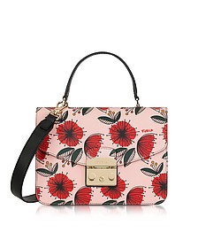 Floral Printed Moonstone Leather Metropolis S Top Handle Bag - Furla