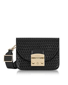 Onyx Woven Leather Metropolis Gilda Mini Crossbody Bag - Furla