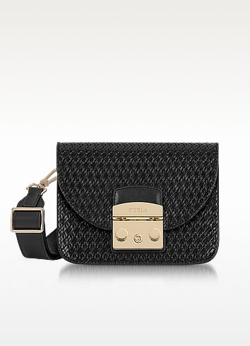 Onyx Woven Leather Metropolis Gilda Mini Crossbody Bag - Furla