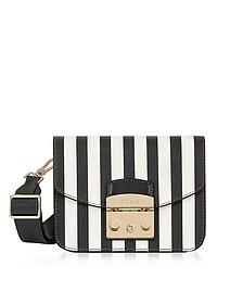 Black and White Striped Leather Metropolis Mini Crossbody Bag - Furla