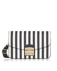 Black and White Striped Leather Metropolis Small Shoulder Bag - Furla