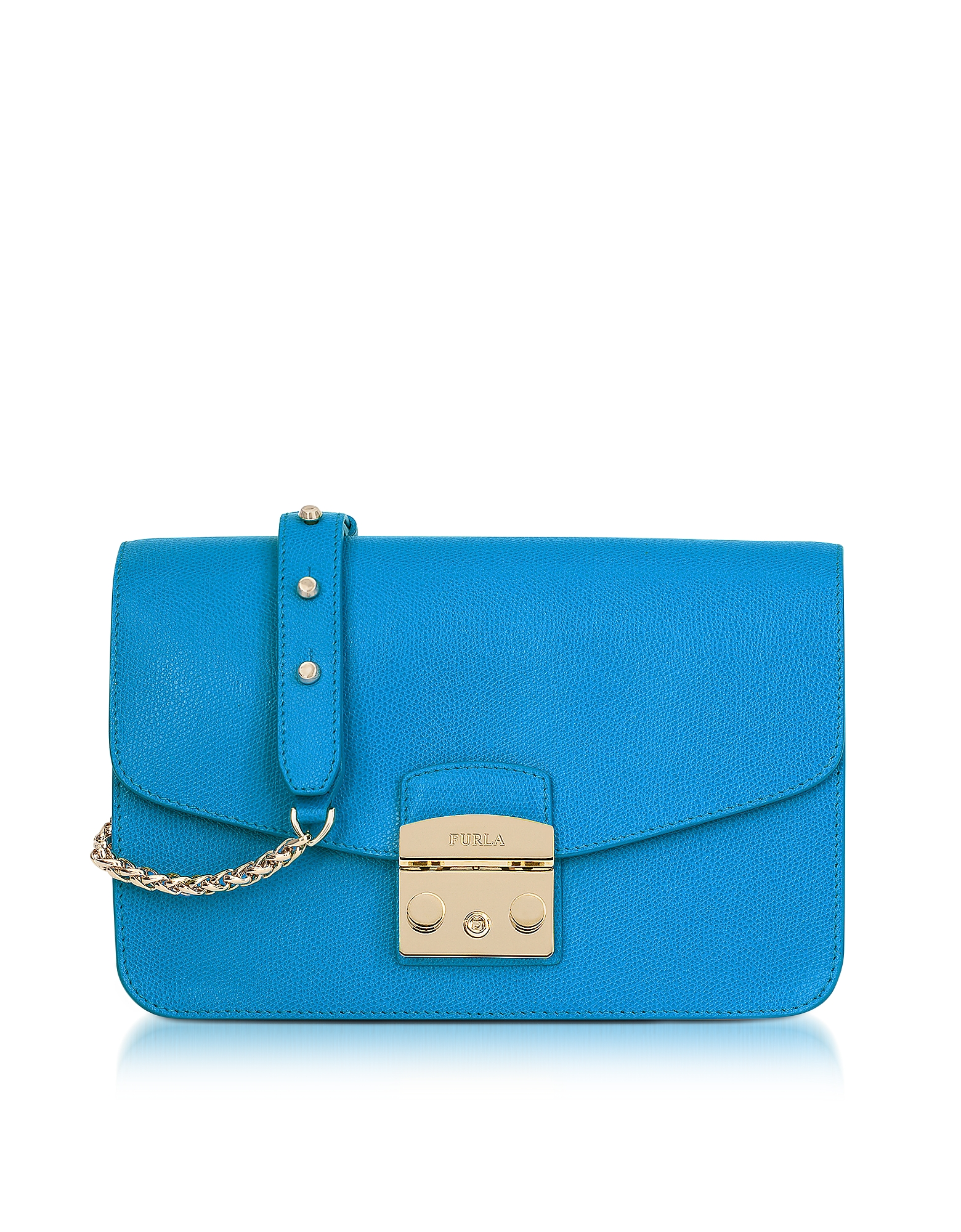 Furla Handbags, Cerulean Blue Metropolis Small Shoulder Bag