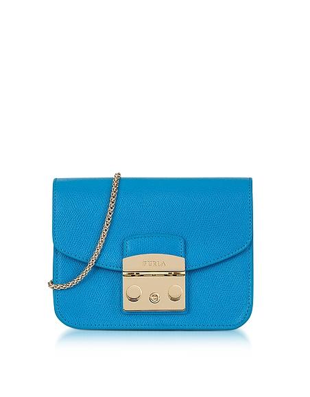 Image of Furla Metropolis Mini Borsa con Tracolla in Pelle Cerulean Blue