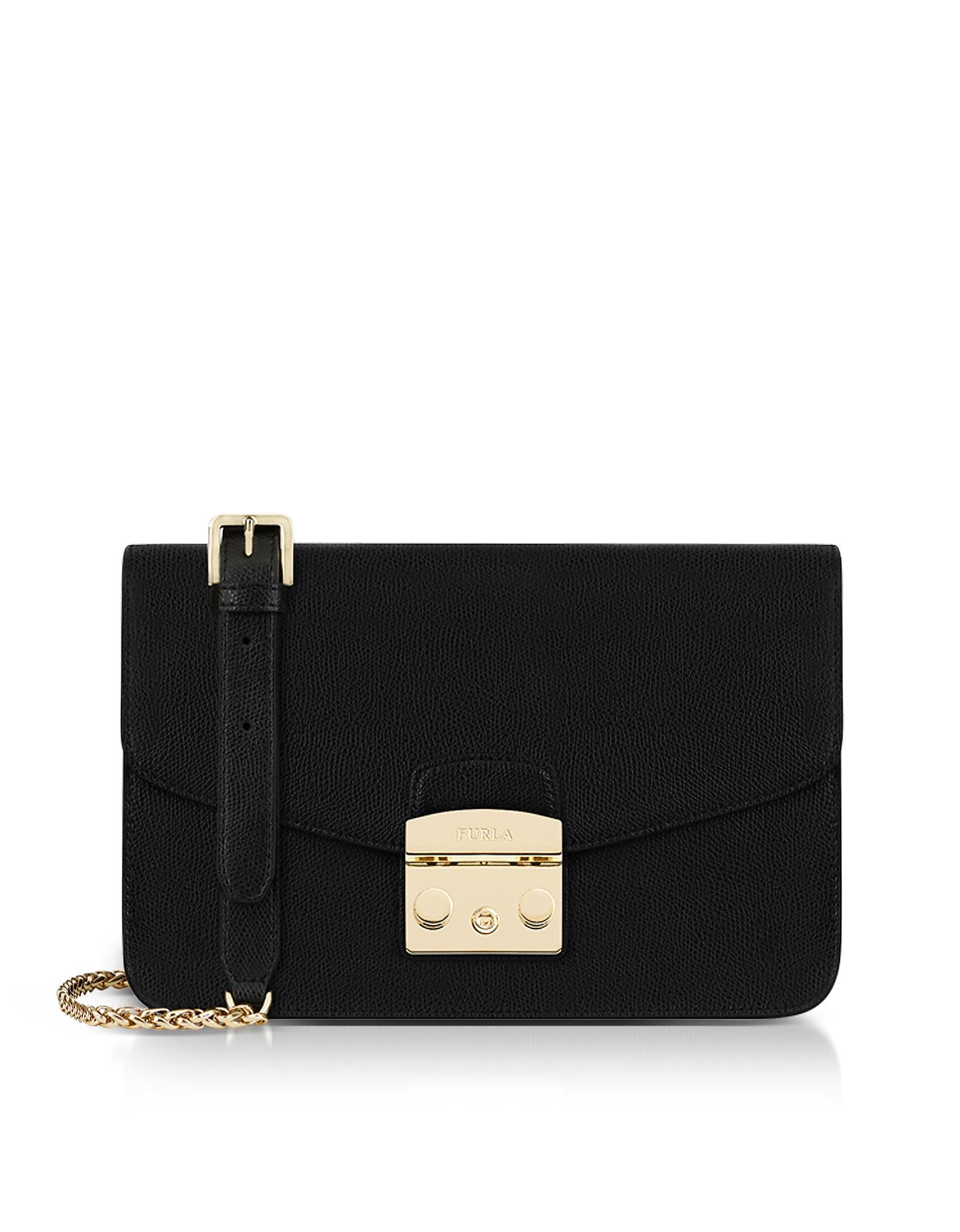 Image of Furla Designer Handbags, Onyx Lizard Printed Leather Metropolis Small Shoulder Bag