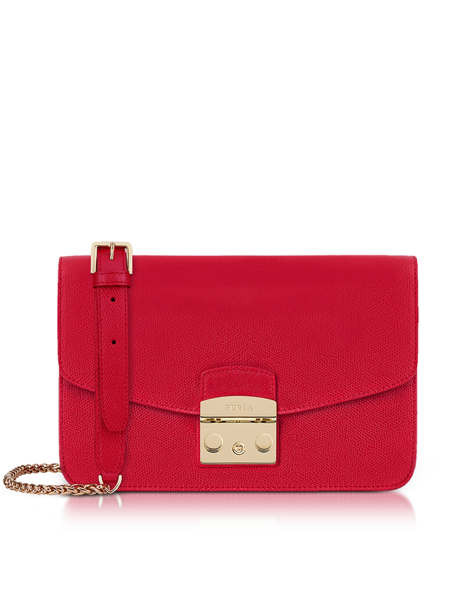 Image of Furla Designer Handbags, Ruby Red Lizard Printed Leather Metropolis Small Shoulder Bag
