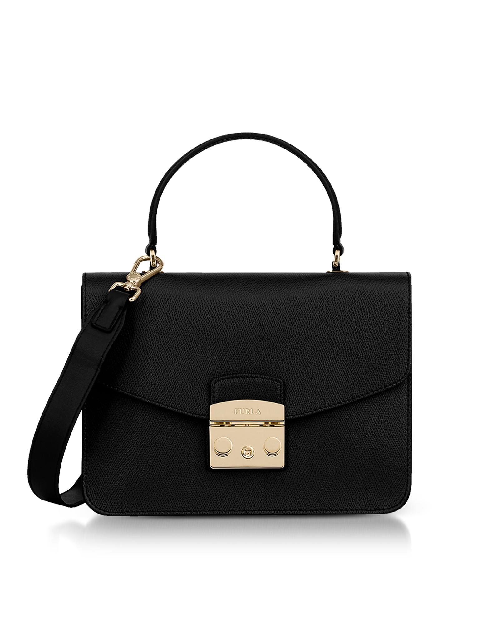 Image of Furla Designer Handbags, Onyx Lizard Printed Leather Metropolis Small Top-Handle Shoulder Bag