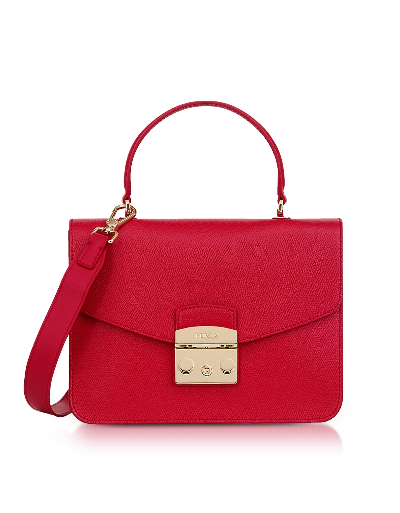 Image of Furla Designer Handbags, Ruby Red Lizard Printed Leather Metropolis Small Top-Handle Shoulder Bag