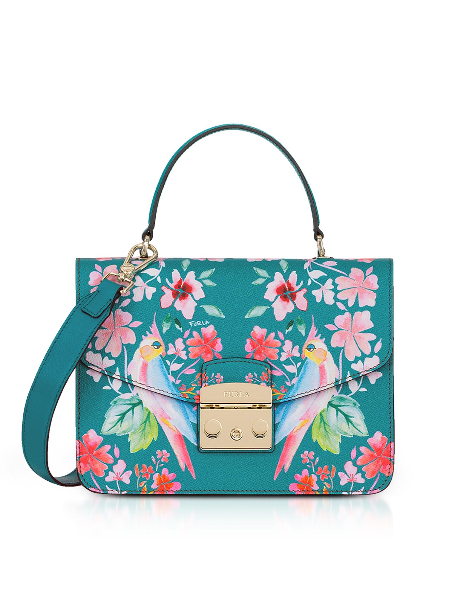 Image of Furla Designer Handbags, Cocorita Printed Leather Metropolis Small Top-Handle Shoulder Bag
