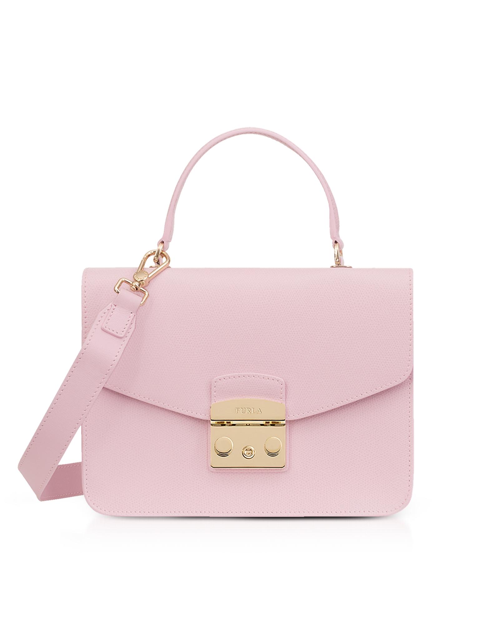 Image of Furla Designer Handbags, Camelia Lizard Printed Leather Metropolis Small Top-Handle Shoulder Bag