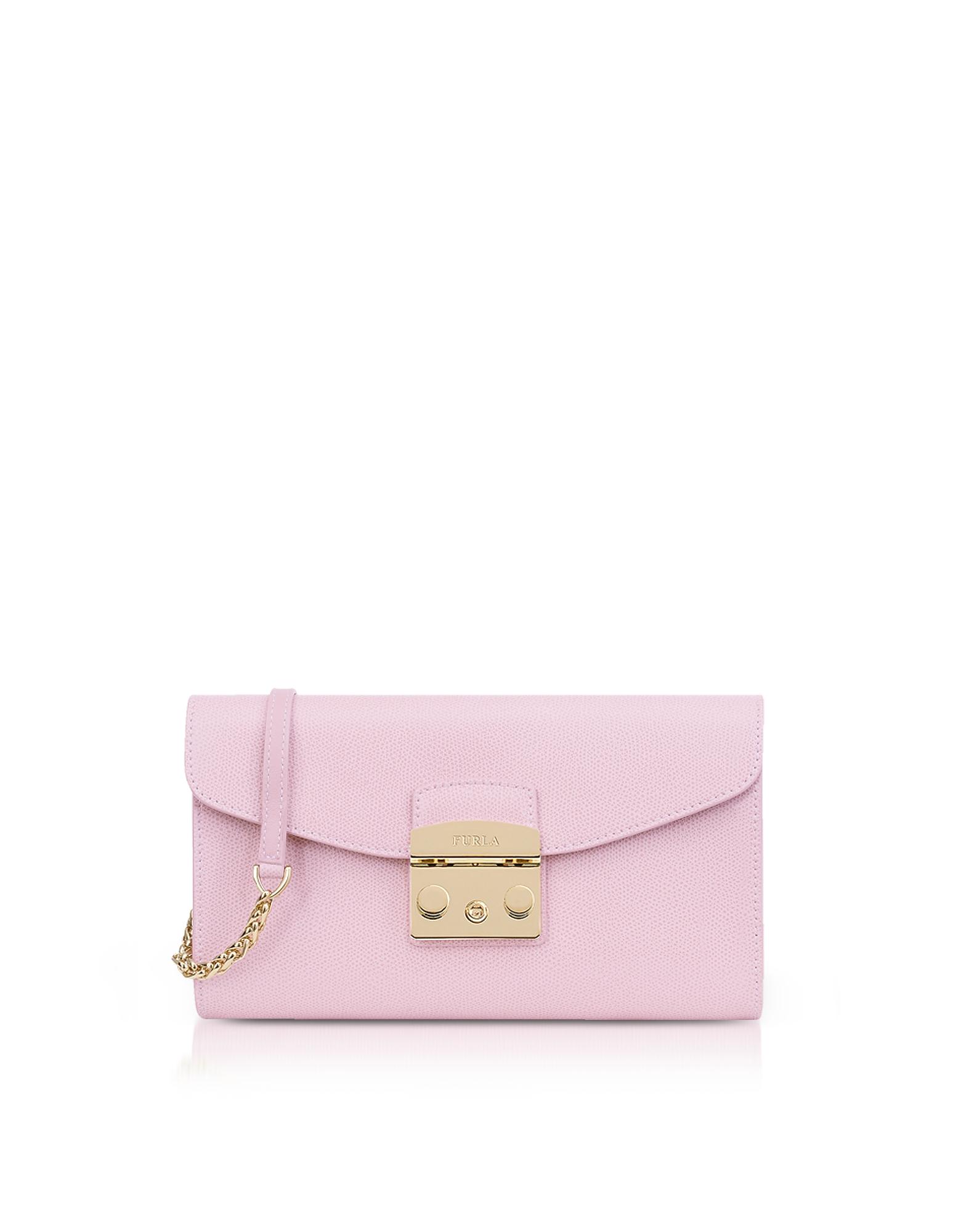 Image of Furla Designer Handbags, Camelia Lizard Printed Leather Metropolis Small Clutch w/Chain Strap