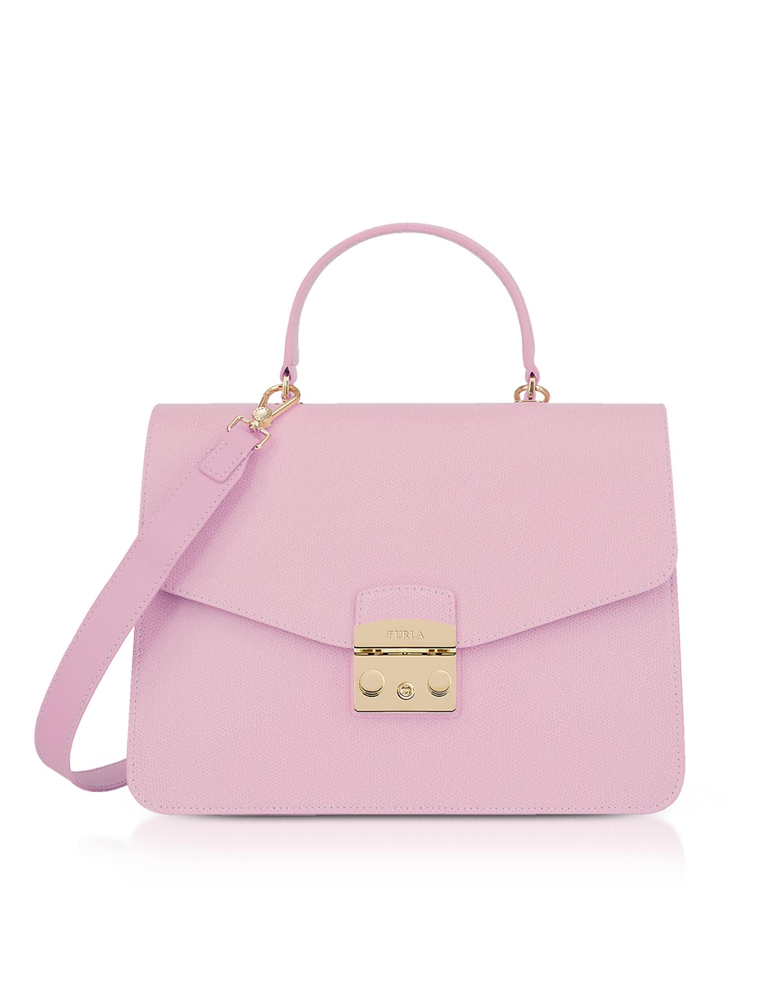 Furla Handbags, Camelia Lizard Printed Leather Metropolis Medium Top Handle Satchel Bag