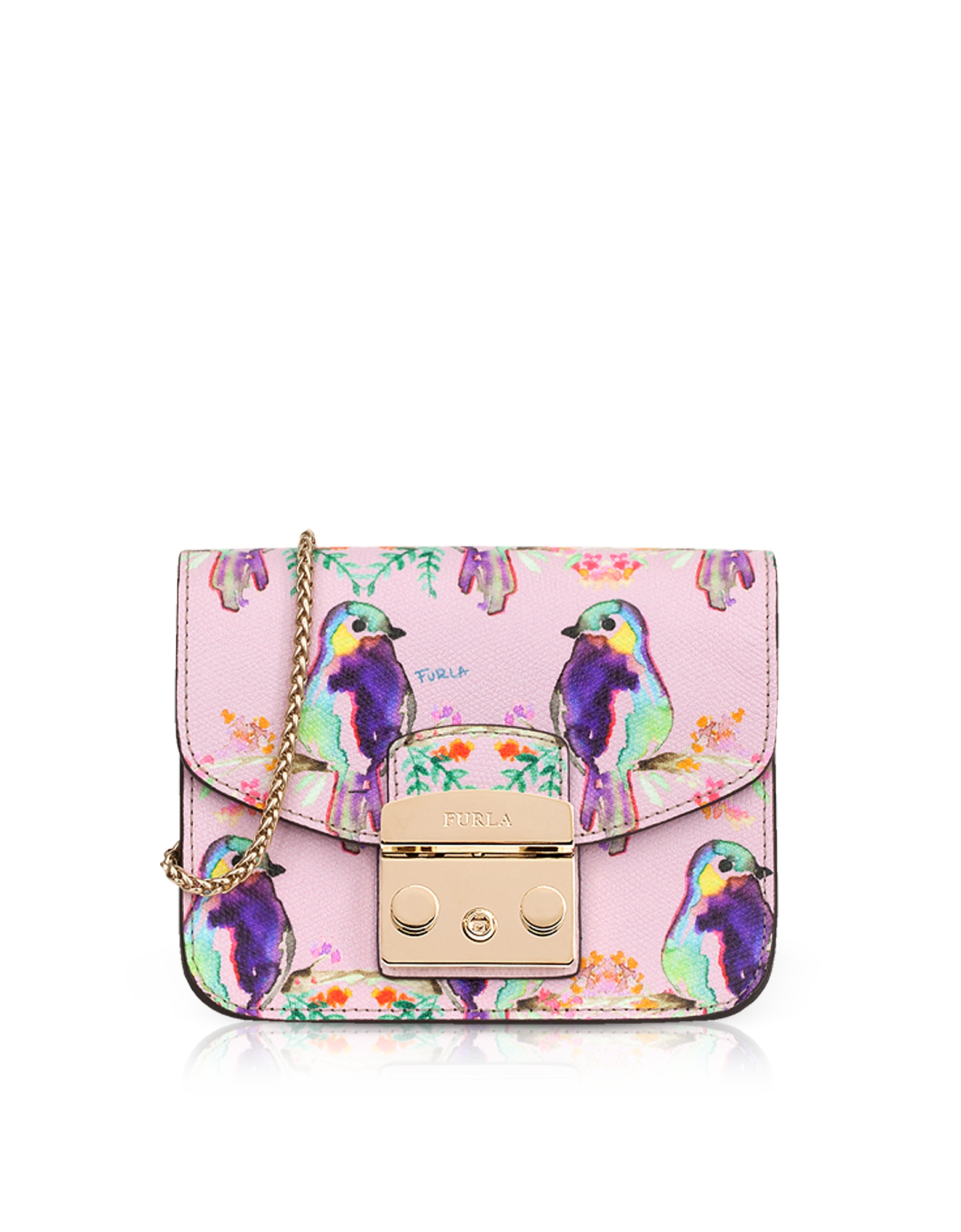 Cardellino Printed Camelia Leather Metropolis Mini Crossbody Bag