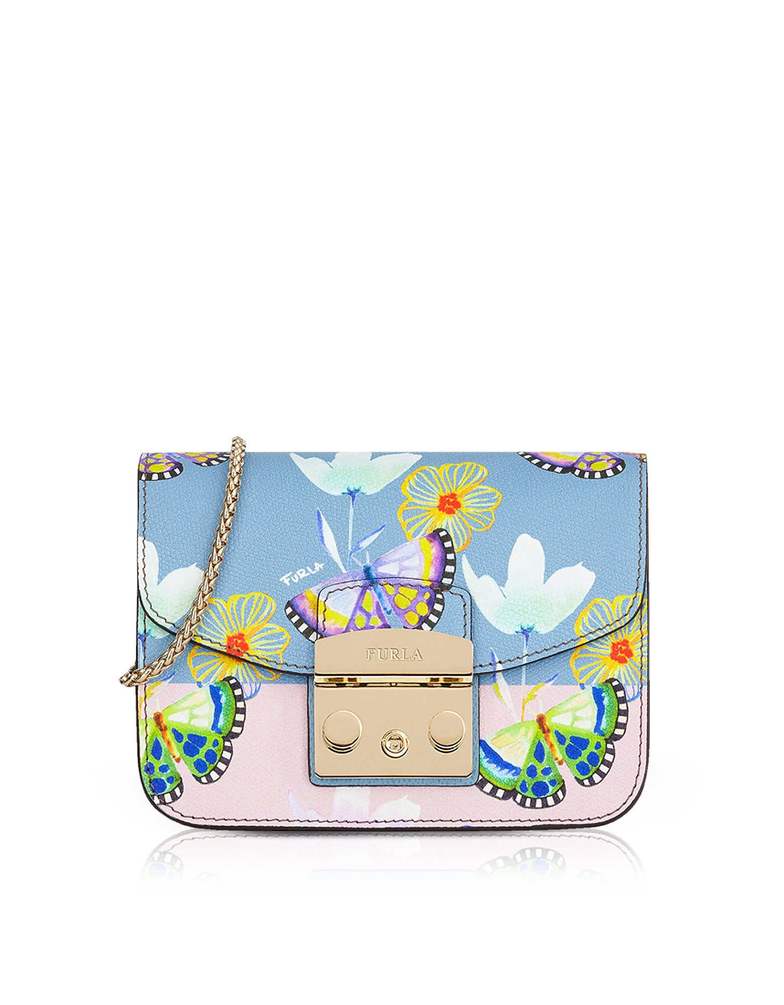 Furla Handbags, Butterfly Printed Toni Veronica Leather Metropolis Mini Crossbody Bag