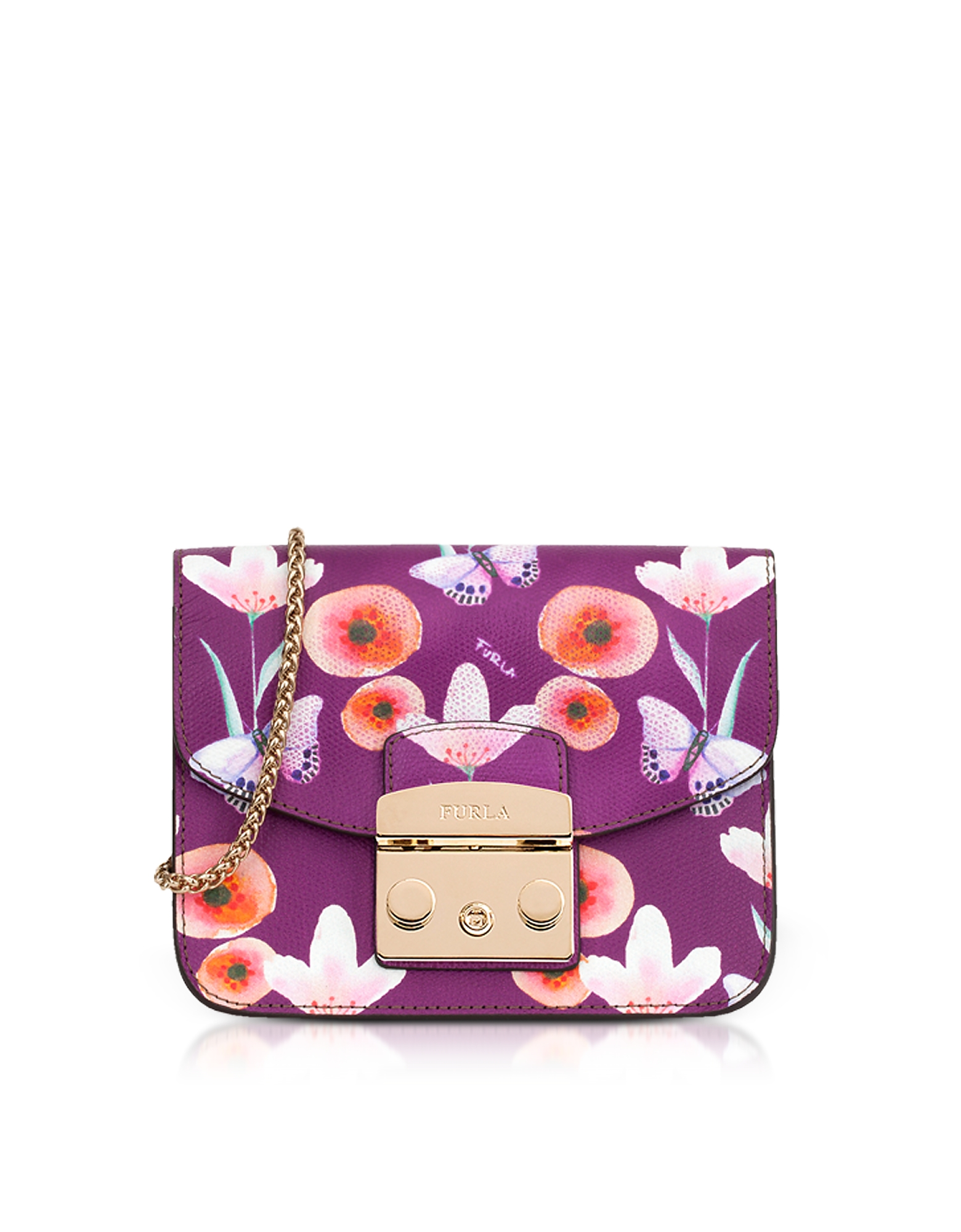 Butterfly Printed Bouganville Leather Metropolis Mini Crossbody Bag