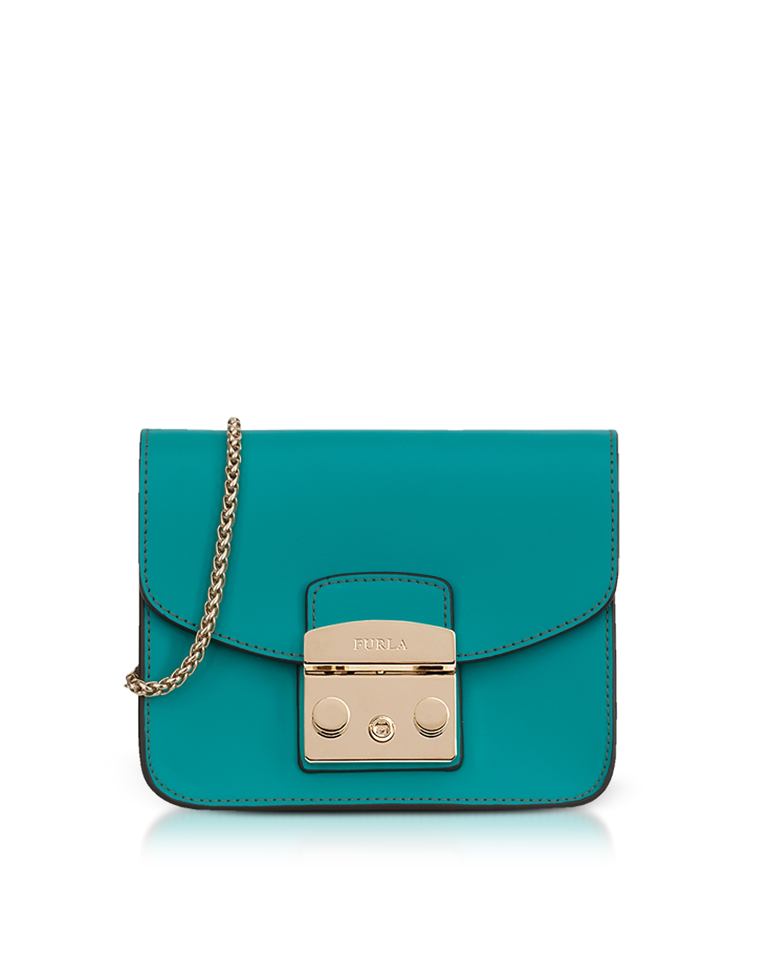 Furla Handbags, Giada Green Smooth Leather Metropolis Mini Crossbody Bag