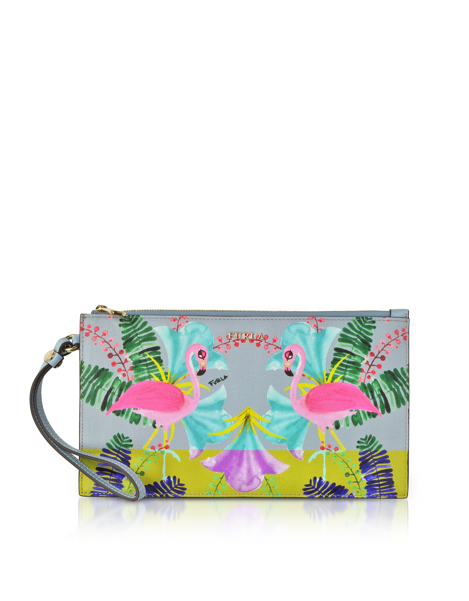 Furla Handbags, Flamingo Printed Toni Fiordaliso Saffiano Leather Babylon XL Envelope Clutch