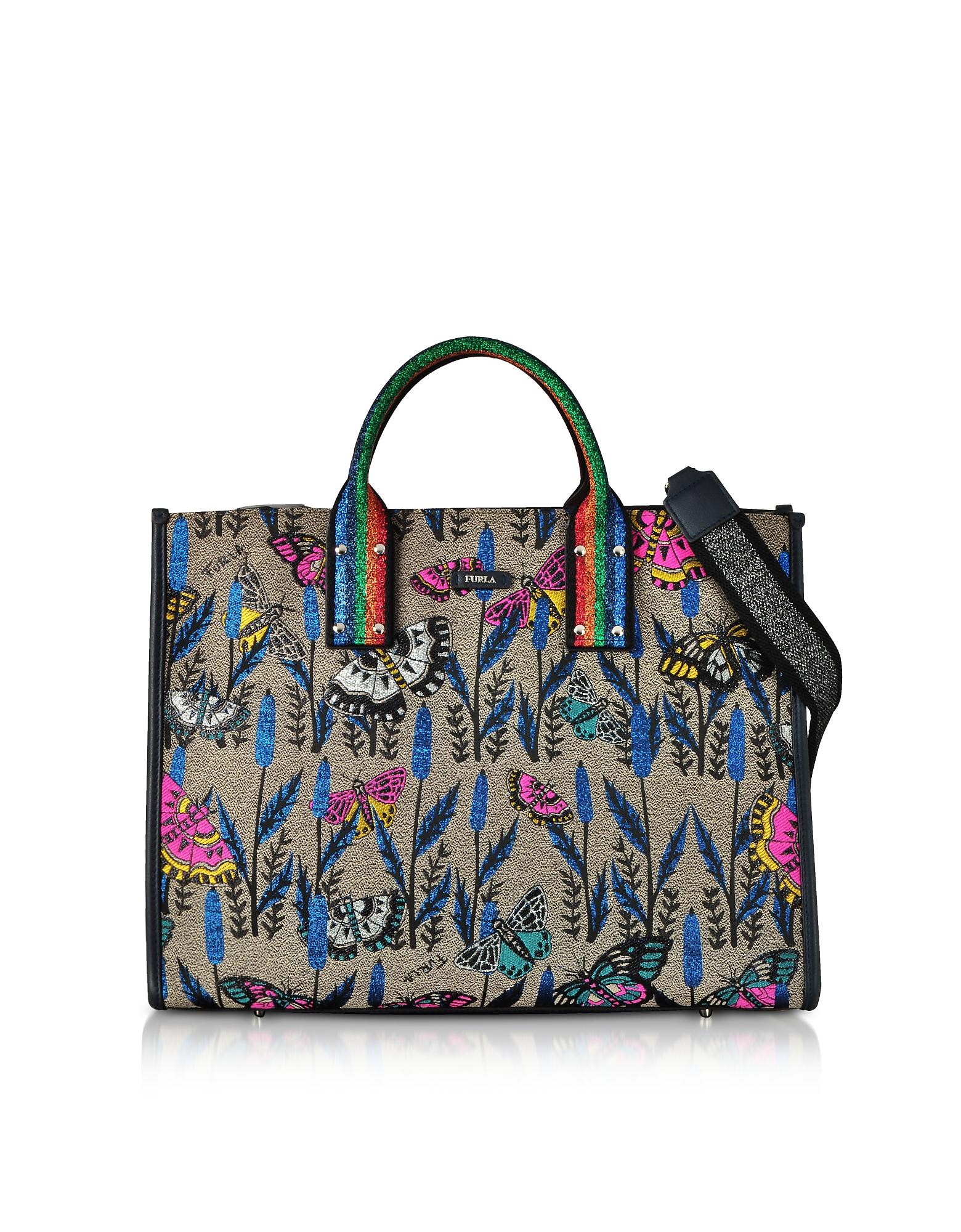 Image of Furla Designer Handbags, Canvas and Lurex Erica Large Tote Bag