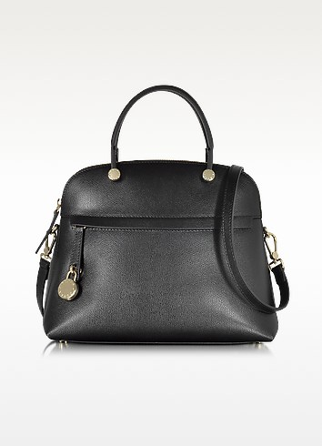 Piper Onyx Leather Medium Dome Handbag - Furla