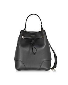 Stacy Onyx Leather Small Bucket Bag - Furla