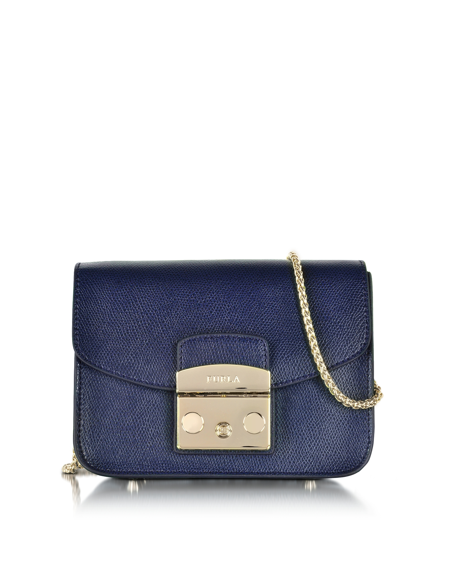 Furla Handbags, Metropolis Mini Navy Blue Leather Crossbody Bag