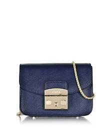 Metropolis Mini Navy Blue Leather Crossbody Bag