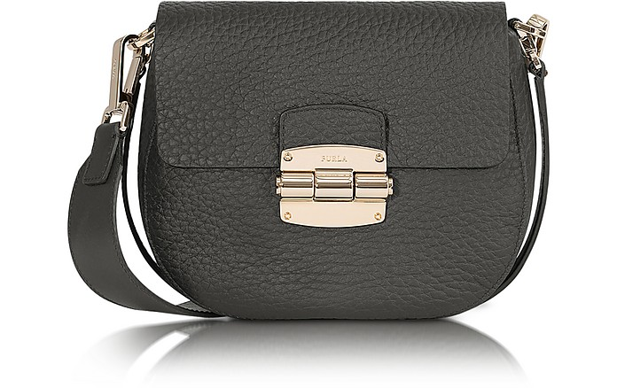 Club Mini Black Pebble Leather Crossbody  Bag - Furla