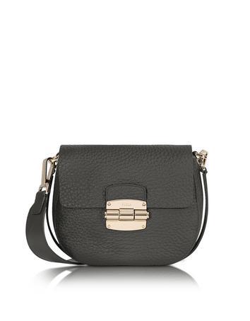 Club Mini Black Pebble Leather Crossbody Bag