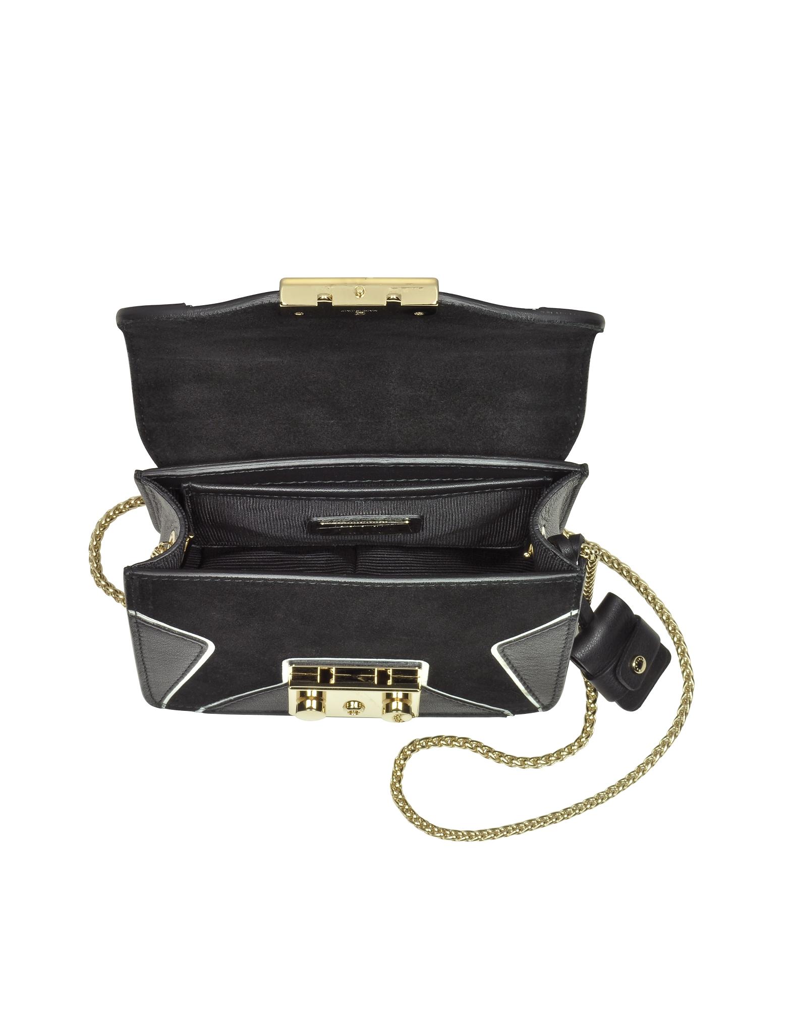 Onyx Leather and Suede Metropolis DJ Mini Crossbody Bag w/Star от Forzieri INT