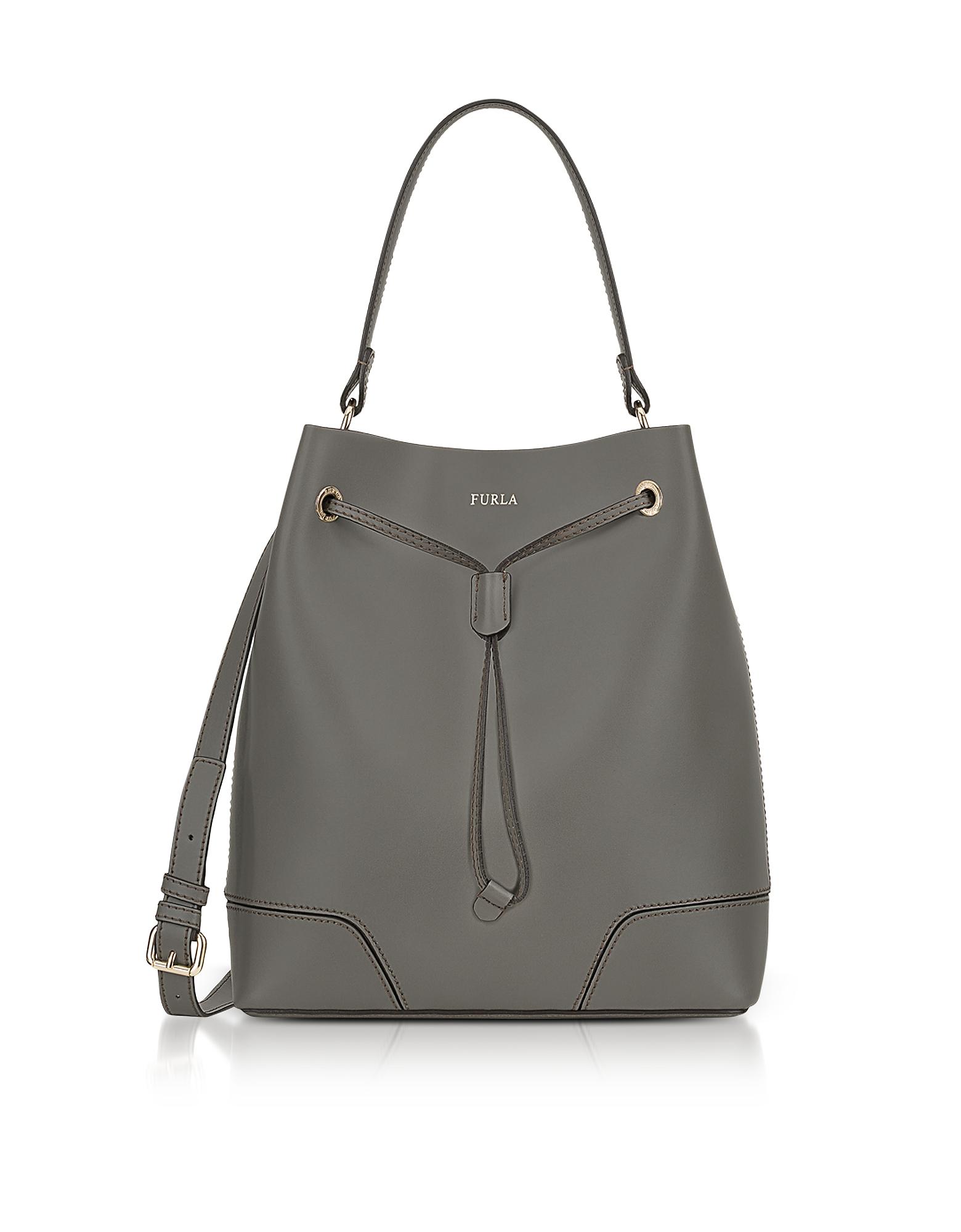 Furla Handbags, Stacy M Argilla Leather Bucket Bag