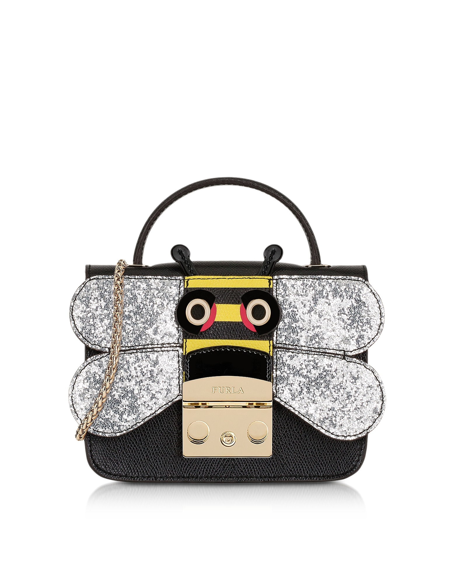 Furla Handbags, Onyx and Silver Metropolis Doodle Mini Crossbody Bag