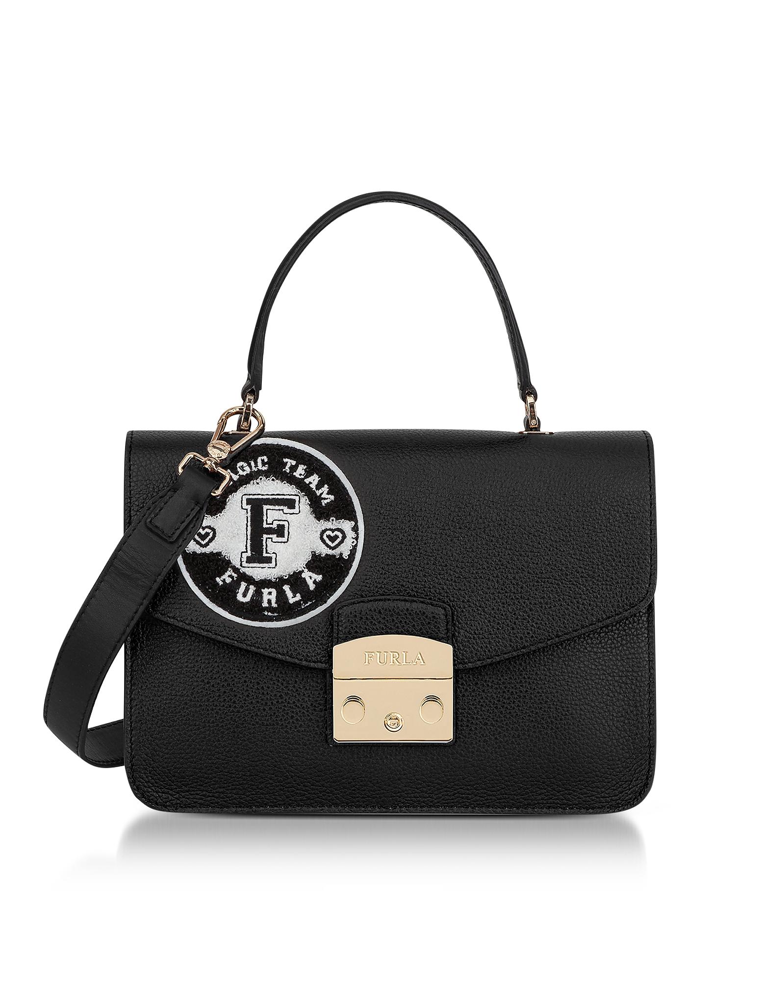 Furla Handbags, Onyx and Petalo Leather Metropolis Post Small Top Handle Bag