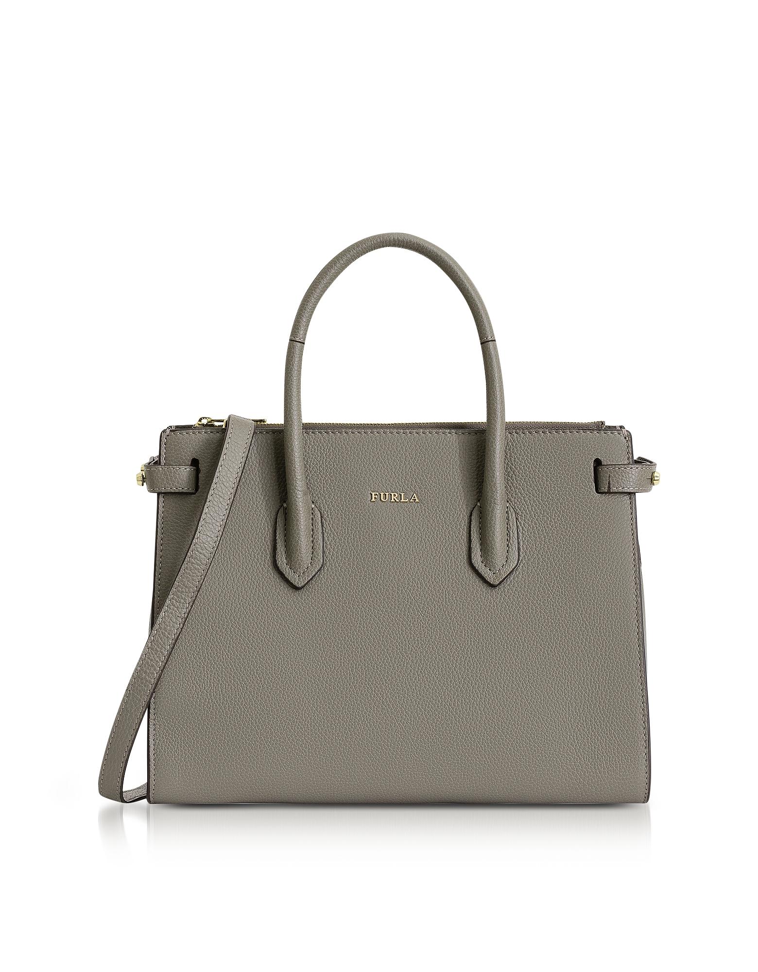 Furla Handbags, Argilla Leather Pin Small E/W Tote Bag