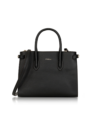 Onyx Leather Pin Small E/W Tote Bag
