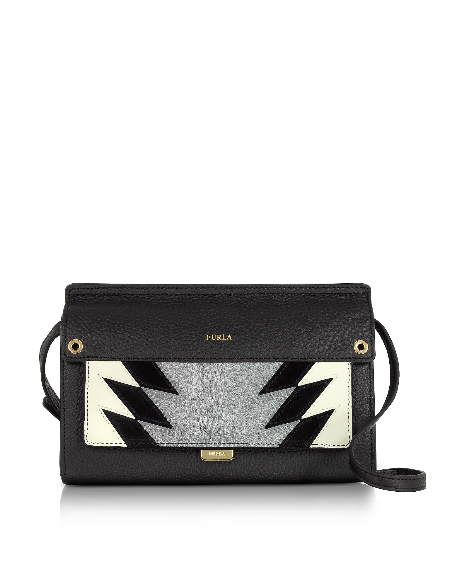 Furla Handbags, Onyx Leather and Silver Haircalf Like Mini Crossbody Bag