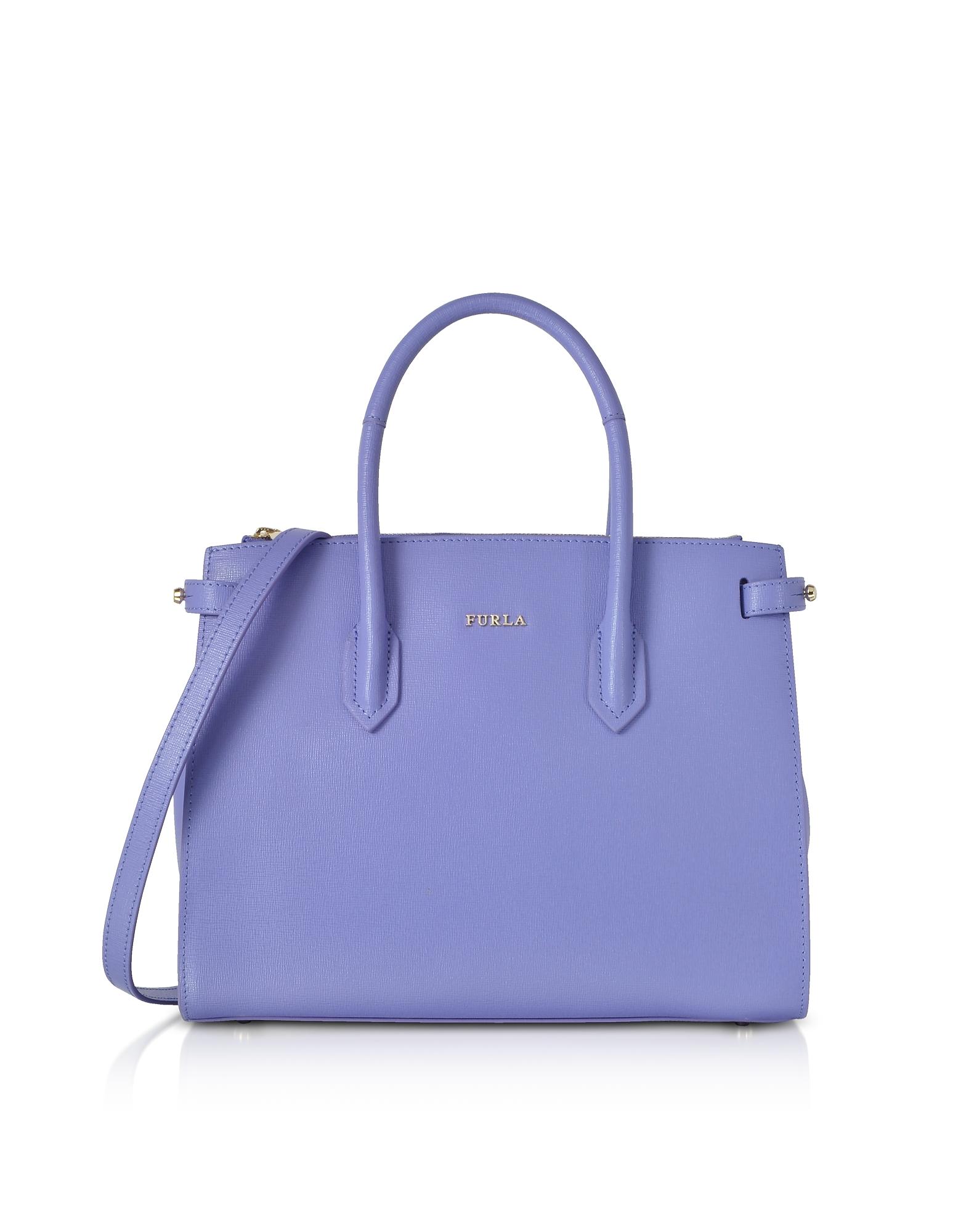 Image of Furla Designer Handbags, Pin Leather Small Tote Bag