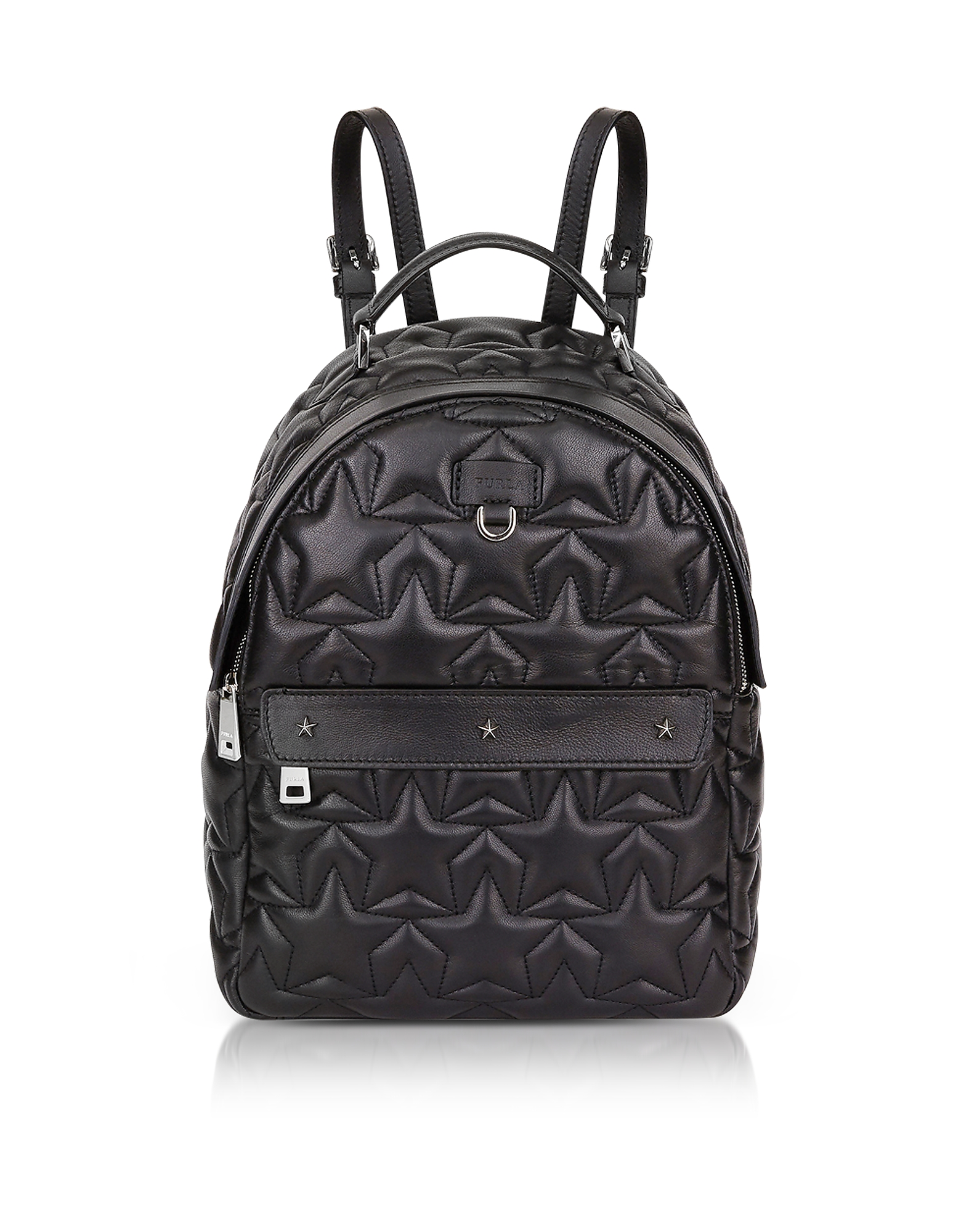Black Star Quilted Leather Favola Small Backpack
