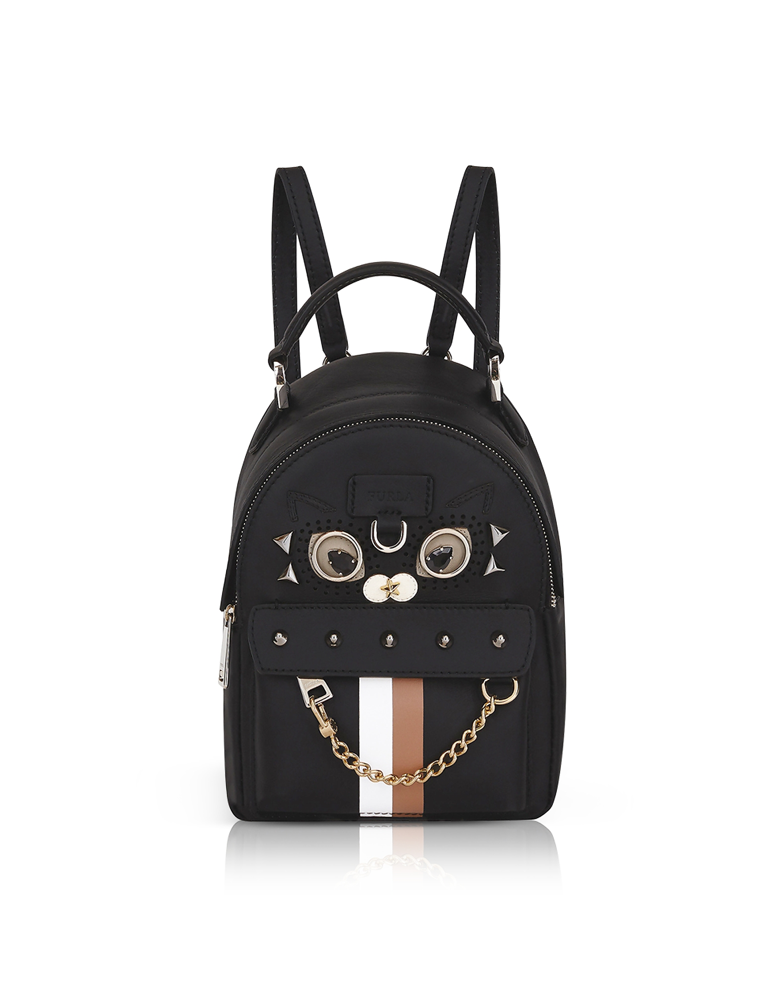 Black Favola Mini Backpack w/Studs