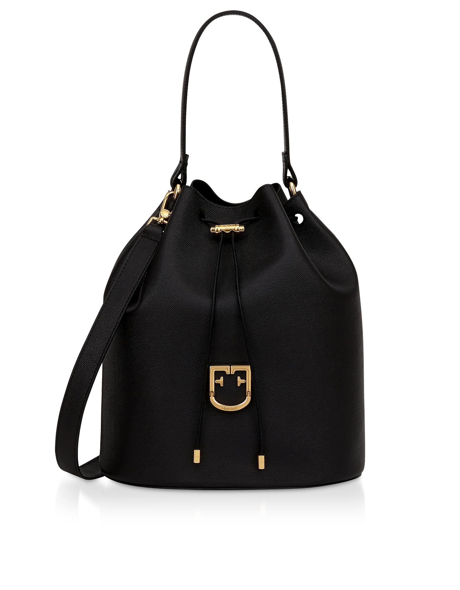 Furla Designer Handbags, Corona M Drawstring Leather Bucket Bag