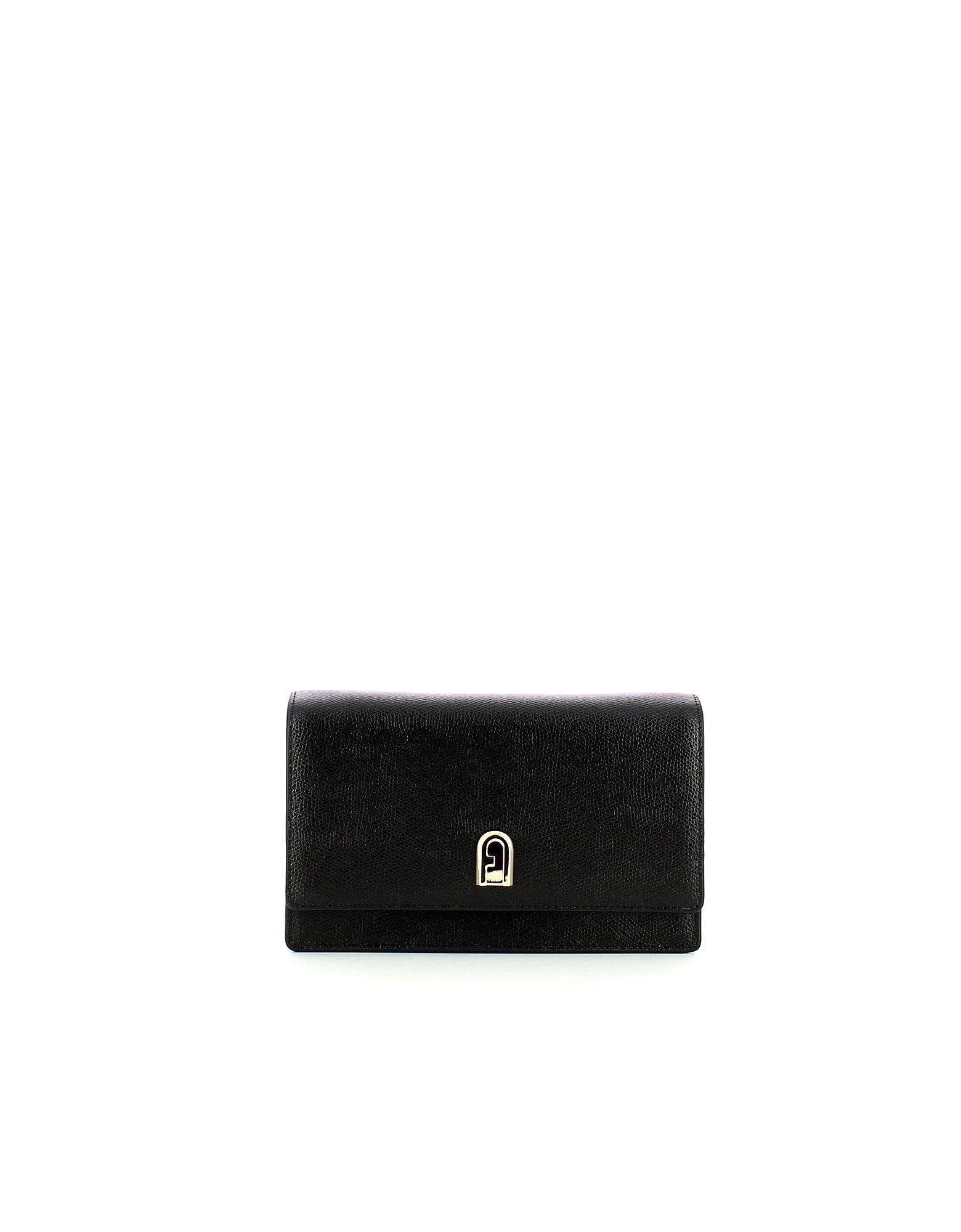 Furla Designer Handbags, Black Mini 1927 Crossbody Bag