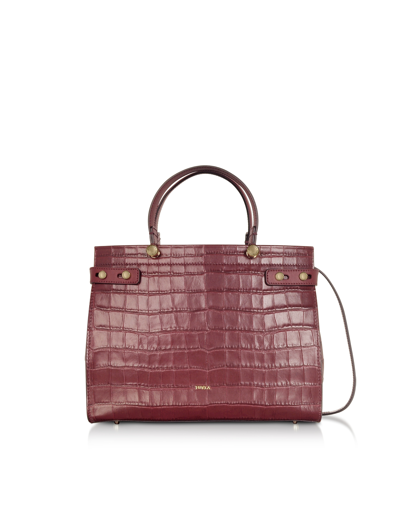 Croco Embossed Leather Lady M Tote Bag, Ribes