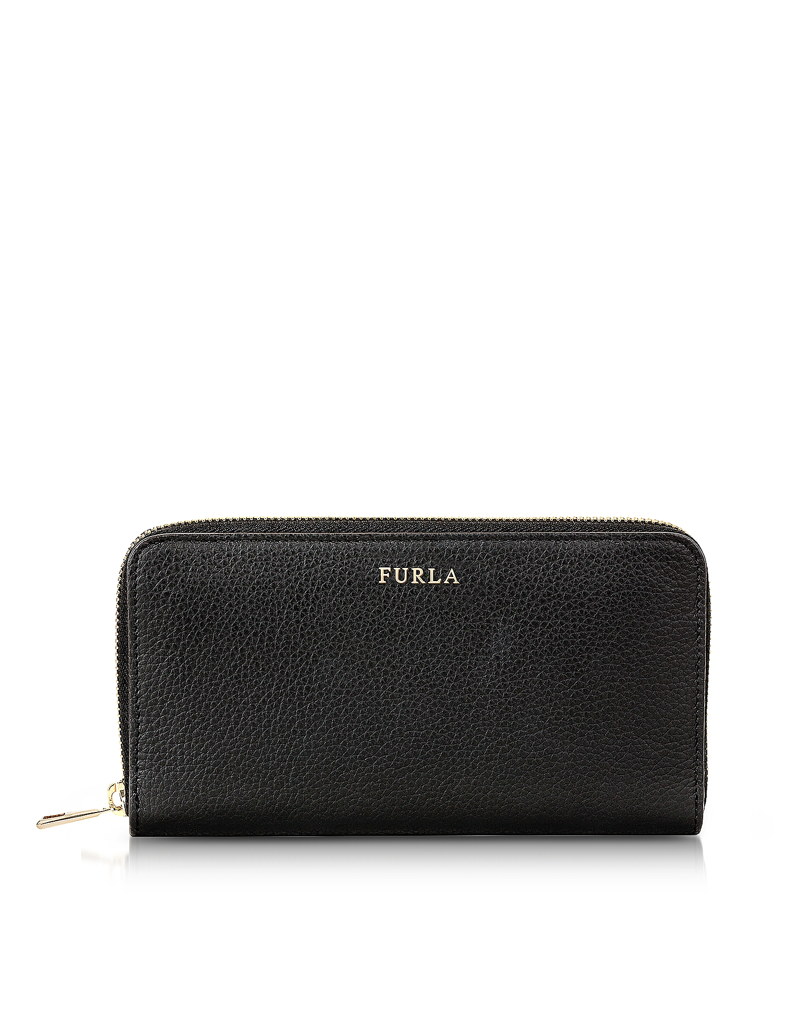 Furla Handbags, Onyx Babylon XL Zip Around Pebbled Leather Wallet