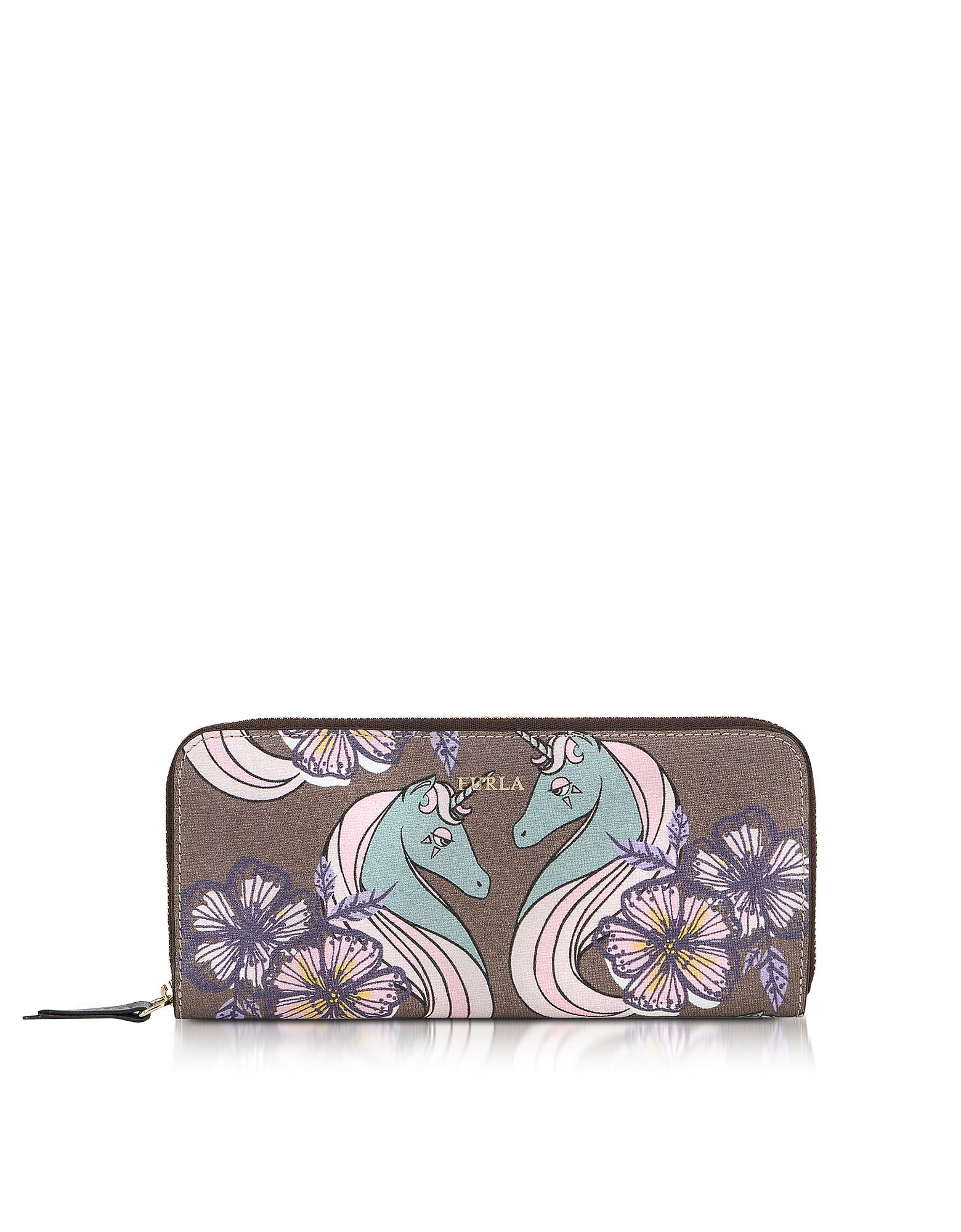 Фото Unicorn and Butterfly Gioia XL - Кошелек из Сафьяновой Кожи с Застежкой Молнией. Купить с доставкой