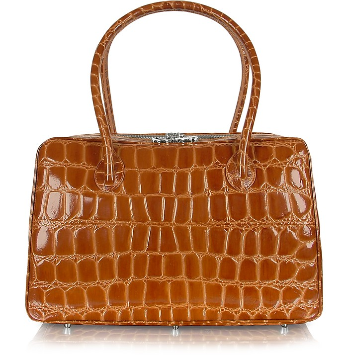 Spiga - Brown Croco Stamped Calfskin Medium Satchel Bag - Giorgio Fedon 1919